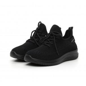 Ανδρικά μαύρα πλεκτά αθλητικά παπούτσια   2