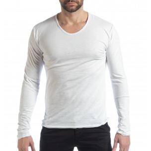 Ανδρική λευκή μπλούζα V-neck