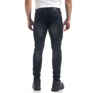 Ανδρικό μαύρο τζιν Slim fit με σκισίματα  2