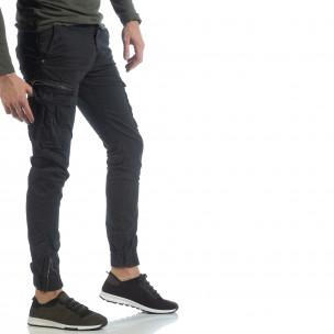 Ανδρικό μαύρο παντελόνι cargo με φερμουάρ