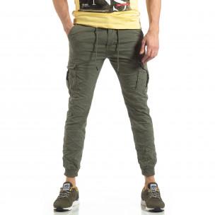 Ανδρικό πράσινο παντελόνι cargo με κορδόνια  2