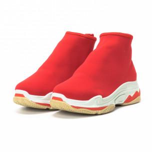Γυναικεία κόκκινα Slip-on sneakers από νεοπρέν ύφασμα 2