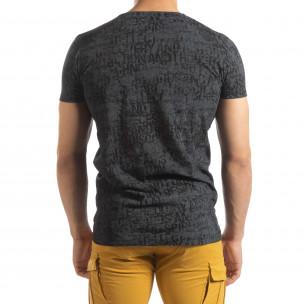 Ανδρική σκούρα γκρι κοντομάνικη μπλούζα Vintage  2