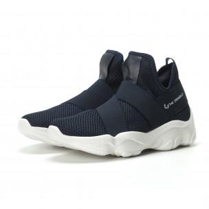 Slip- on ανδρικά μπλε αθλητικά παπούτσια με λάστιχα  2