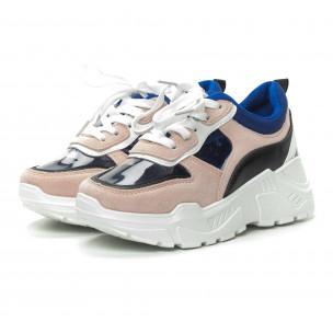 Γυναικεία ροζ αθλητικά παπούτσια με διαφάνειες  2