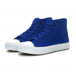 Γυναικεία Basic μπλε ψηλά sneakers   2