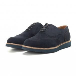 Casual ανδρικά μπλε σουέτ παπούτσια Wingtip 2