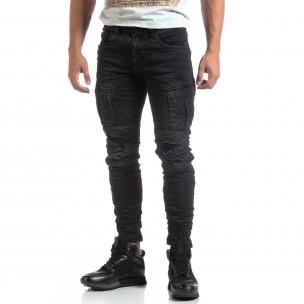 Ανδρικό μαύρο Cargo Jeans σε ροκ στυλ  2