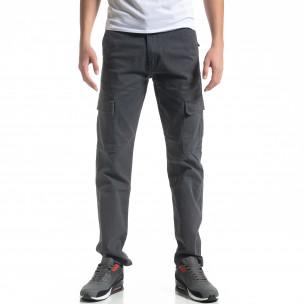 Ανδρικό γκρι cargo παντελόνι Regular fit