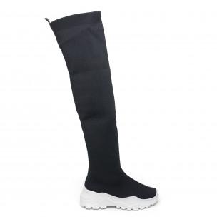 Γυναικείες ψηλές μαύρες μπότες τύπου κάλτσα