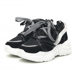 Γυναικεία μαύρα αθλητικά παπούτσια Chunky design 2