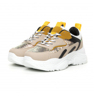 Γυναικεία Chunky αθλητικά παπούτσια με κίτρινες λεπτομέρειες 2