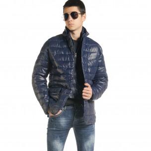 Ανδρικό μπλέ χειμωνιάτικο μπουφάν τύπου blazer  2
