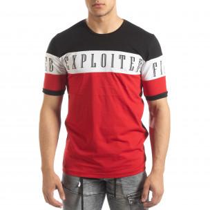 Ανδρική κοντομάνικη μπλούζα σε μαύρο και κόκκινο