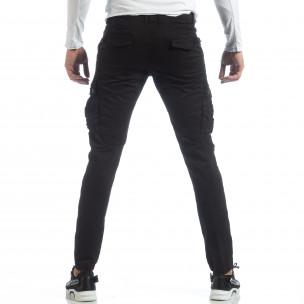 Ανδρικό μαύρο παντελόνι με cargo τσέπες  2