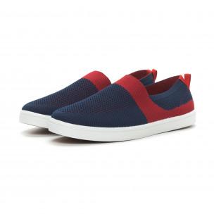 Ανδρικά μπλε πλεκτά sneakers με κόκκινες λεπτομέρειες 2