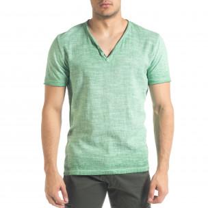 Ανδρική πράσινη κοντομάνικη μπλούζα Ficko
