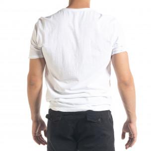 Ανδρική λευκή κοντομάνικη μπλούζα Ficko 2