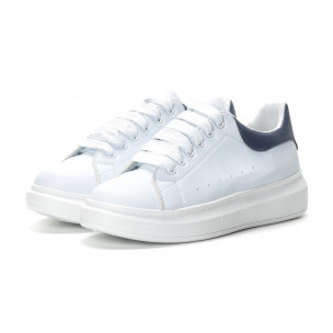Ανδρικά λευκά αθλητικά παπούτσια με μπλε λεπτομέρειεα  2