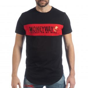 Ανδρική μαύρη κοντομάνικη μπλούζα Money Way  2