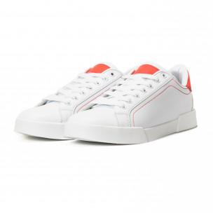 Ανδρικά λευκά Basic sneakers με κόκκινες λεπτομέρειες 2