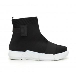 Γυναικεία  slip-on μαύρα αθλητικά παπούτσια με λάστιχο