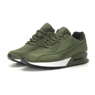 Ανδρικά military πράσινα αθλητικά παπούτσια με αερόσολα  2