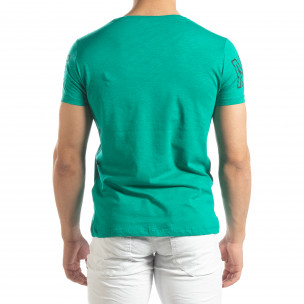 Ανδρική πράσινη κοντομάνικη μπλούζα με πριντ Watch  2