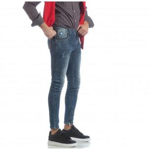 Ανδρικό γαλάζιο τζιν Slim fit με φερμουάρ