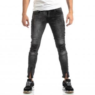 Ανδρικό γκρι τζιν Worn Jeans με λεπτομέρειες 2