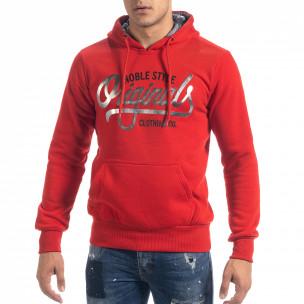 Ανδρικό κόκκινο φούτερ hoodie με πριντ Originals