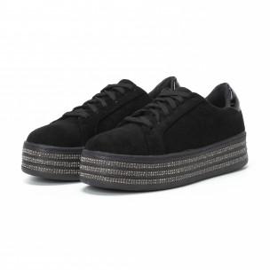 Γυναικεία μαύρα sneakers με στρασάκια και πλατφόρμα 2