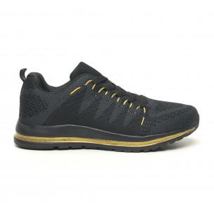Ανδρικά υφασμάτινα αθλητικά παπούτσια σε μαύρο και χρυσό 2