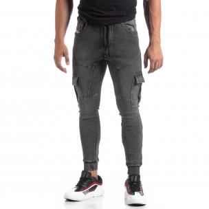 Ανδρική γκρι φόρμα τύπου Cargo Jeans
