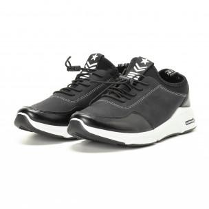 Ανδρικά μαύρα αθλητικά παπούτσια από συνδυασμό υφασμάτων  2