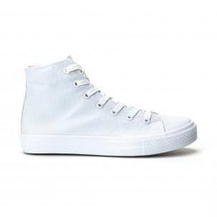 Ανδρικά λευκά ψηλά sneakers κλασικό μοντέλο