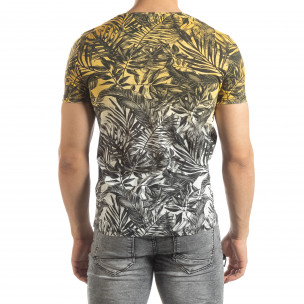 Ανδρική κίτρινη κοντομάνικη μπλούζα Leaves μοτίβο  2