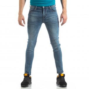 Ανδρικό μπλε ελαστικό τζιν Slim fit TMK
