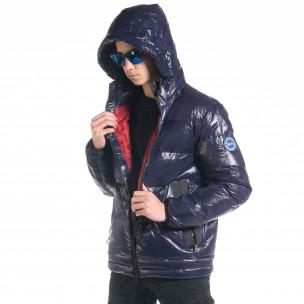 Ανδρικό χειμωνιάτικο μπουφάν από γυαλιστερό ύφασμα Royal blue  2