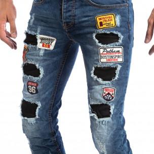 Ανδρικό μπλε τζιν Slim Jeans με διακοσμητικά μπαλώματα  2