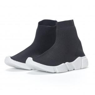 Γυναικεία  slip-on μαύρα αθλητικά παπούτσια τύπου κάλτσα 2