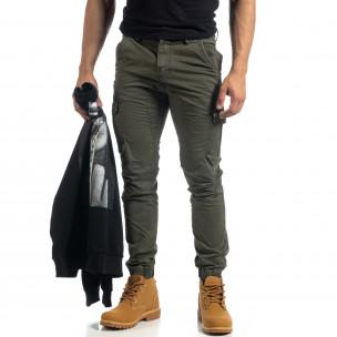 Ανδρικό πράσινο cargo παντελόνι με φερμουάρ  2
