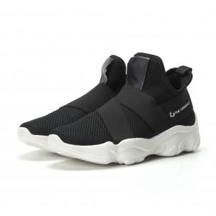 Slip- on ανδρικά μαύρα αθλητικά παπούτσια με λάστιχα  2