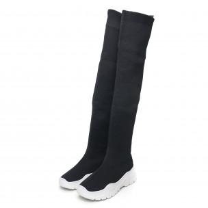 Γυναικείες ψηλές μαύρες μπότες τύπου κάλτσα 2