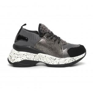 Γυναικεία γκρι αθλητικά παπούτσια Patchwork design Janessa
