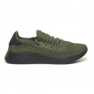 Ανδρικά πράσινα αθλητικά παπούτσια Mesh με μαύρη φτέρνα