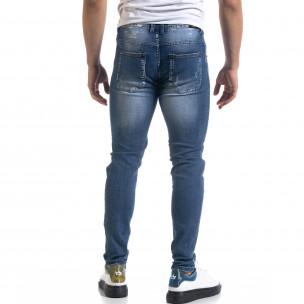 Slim fit ανδρικό μπλε τζιν με ςταγόνες χρωμά  2