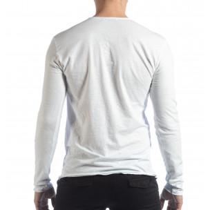 Ανδρική λευκή μπλούζα V-neck  2