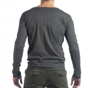 Ανδρική γκρι μπλούζα Vintage στυλ  2