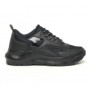 Ανδρικά μαύρα αθλητικά παπούτσια με λουστρίνι ελαφρύ μοντέλο 2